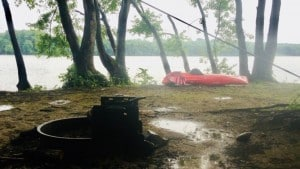 Kayak campsite on a rainy day
