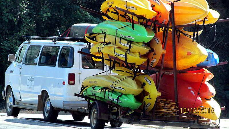 Loaded down van with kayaks